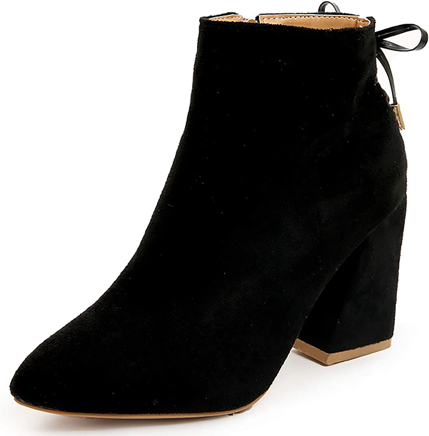 HEETIST Women's Casual Lace Up Round Toe Ankle Boots with Chunky Block Heel Fashion Booties