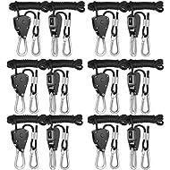 iPower GLROPEX6 6-Pair 1/8 Inch 8-Feet Long Heavy Duty Adjustable Rope Clip Hanger (150lbs Weight Capacity) Reinforced Metal Internal Gears, 6 Pack, black