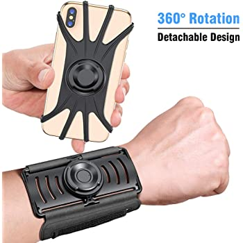 VUP Wristband Phone Holder, 360° Rotatable & Detachable Sports Wristband for iPhone 11 Pro Max XR XS X 8 7 6 6s Plus, Galaxy, Google Pixel, 4''-6.5''Phones, Great for Hiking Biking Walking Gym (Black)