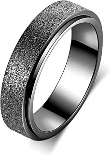 Spinner Band Ring for Women Men 6mm Wide Anxiety Ring Stainless Steel Fidget Ring, Sand Blasted Finish Outer, Hand Polish ...
