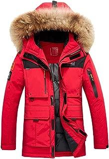 IZHH Mens Parka Jacket Down Coat Thicken Windbreaker Winter Overcoat Zip Hoodie