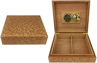 Smoking set/Cigar Humidors Cigarette Case Men's Gift Box Cedar Wood Cigar Humidor With Hygrometer And Humidifier Constant Temperature and Humidity 15-20 Sticks Many Styles Optional (Color : Gold)