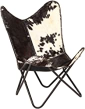 Festnight Butterfly Chair Retro Lounge Chair Living Room Furniture Genuine Goat Leather,Black and White