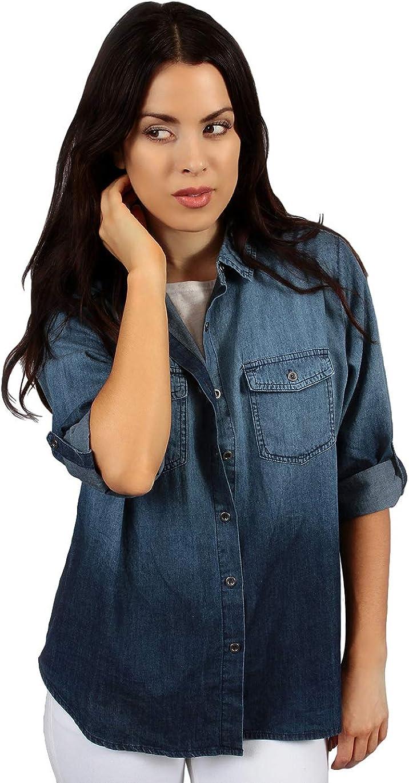 Womens Button Down Denim Shirt Blue Ombre Utility Blouse