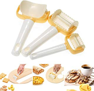 3Pcs/Set Rolling Cookie Cutters Biscuit Rolling Crimped Cutter Round Biscuit Cutting Pastry Blade Dough Circle Dumpling Mold Maker Stamp Impress for DIY Baking Tool