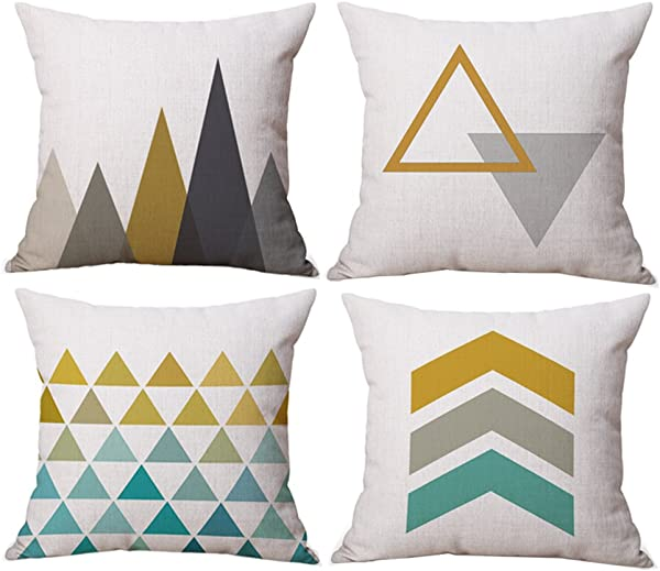 BLUETTEK Modern Simple Geometric Style Soft Linen Burlap Square Decor Throw Pillow Covers 18 X 18 Inches Pack Of 4 Yellow