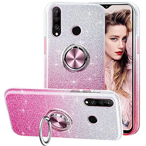 Funda para Huawei P30 Lite, Gradiente Glitter Espumoso Brillante Carcasa y Soporte Magnético de Anillo Protección 3-in-1 de Cubierta PC Suave TPU Gel Anti-Choque Anti-arañazos Case - Rosa Gradiente