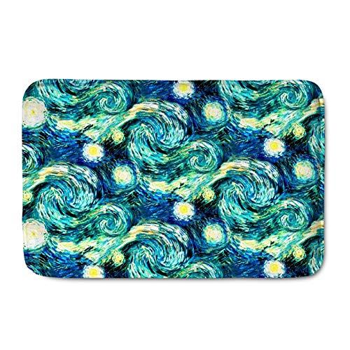 Felpudo de Entrada Alfombra colorida de la noche estrellada de Van Gogh, alfombra de gamuza antideslizante, felpudo para cocina al aire libre, baño, sala de estar, alfombrillas para puerta-16x24inch