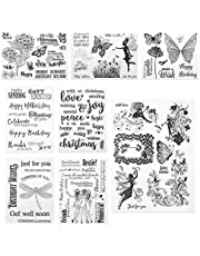 Xinzistar 8 Pcs Clear Stamps Silicone Stamp Cards Butterfly Girl Clear Stamps Card Making Stencils DIY Embossing Photo Album Craft Art Handmade Gift Scrapbooking