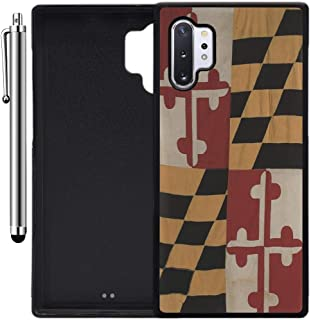 Custom Case Compatible with Galaxy Note 10 Plus (Vintage Rustic Maryland State Flag) Edge-to-Edge Rubber Black Cover Ultra Slim | Lightweight | Includes Stylus Pen by Innosub