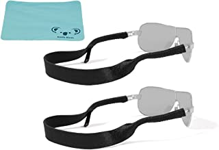 Original Neoprene Eyewear Retainer Sunglass Strap Band | Eyeglass & Sports Glasses Holder Keeper Lanyard | 2pk Bundle + Cloth