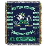 NORTHWEST NCAA Notre Dame Fighting Irish Woven Tapestry Throw Blanket, 48' x 60', Commemorative