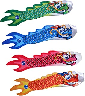 4PCS Chinese Dragon Windsock, Wind Streamer, Camping Spinner, Hanging Flags for Outdoor Garden Boat Decoration