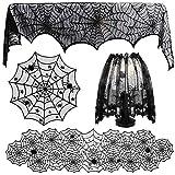 CAREXY 4 Piezas de decoración de Halloween, araña Cubierta de la Mesa Redonda de Encaje Web Corredor de la Tabla del cordón de Pantalla de la Chimenea de la Bufanda Conjunto de Halloween