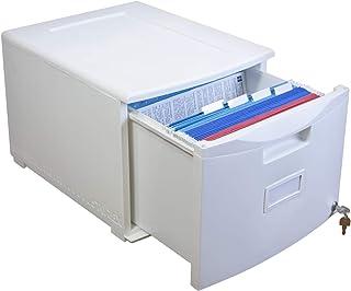 Storex Plastic 1-Drawer Mobile File Cabinet, Letter/Legal, White (61271B01C)