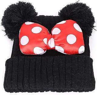 Bolley Joss Kids Girls Boys Slouchy Winter Skull Beanie Hat Cute Dot Bowknot Warm Knit Hat Cap with Pompom Ears