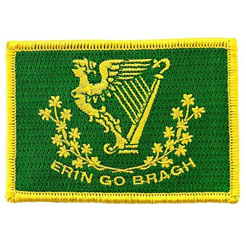 Erin Go Bragh Flag Embroidered Patch Irish Iron-On Ireland Clover Shamrock Emblem