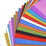 VGOODALL Glitzer Papier, 20 Blatt Sparkly Paper Premium Glitterkarton 10 Farben 250g/m² für DIY Geschenkverpackung Geburtstagsparty