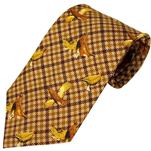 Bisley Grouse Brown 100% Silk Tie - Shooting and hunting - Handmade