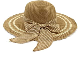 Summer hat Hat Women 2019 Jazz Hat Seaside Sunscreen Beach Wheat Hat Sun Hat Bow Stripes Fashion Visor hat (Color : Coffee, Size : 56-58CM)