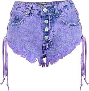 d1baa63c81 Pandapang-CA Womens Fashion High Rise Jean Hot Pants Drawstring Denim Shorts