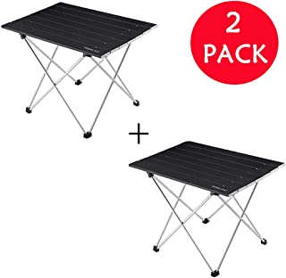 Foldable Portable Aluminum Table with Carry Bag for Outdoor Camping, Hiking and Picnic 2 Packs