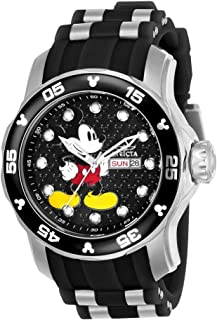 Men's Disney Limited Edition Stainless Steel Quartz Watch with Silicone Strap, Two Tone, 26 (Model: 23763)