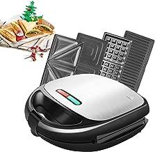 Tostiera 850W 4 in1 Waffles Piastra in Acciaio Inossidabile Ultracompact Sandwich/Panini Maker 4 Piastre Removibili con Rivestimento Antiaderente Gancio Chiusura Spie LED BPA Assente