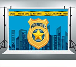 Police Party Backdrop for Photography, 9x6FT, City Skyline Police Badges Blue Background, Great for Birthday Party or Police-Themed Party Photo Booth Studio Props LHLU746