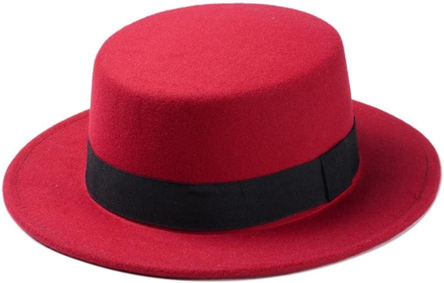 ZLQQLZ Women Cap Boater Flat Top Hat for Women's Felt Wide Brim Fedora Hat Laday Prok Pie Hat Top Hat Hat (Color : Red, Size : 56-58CM)