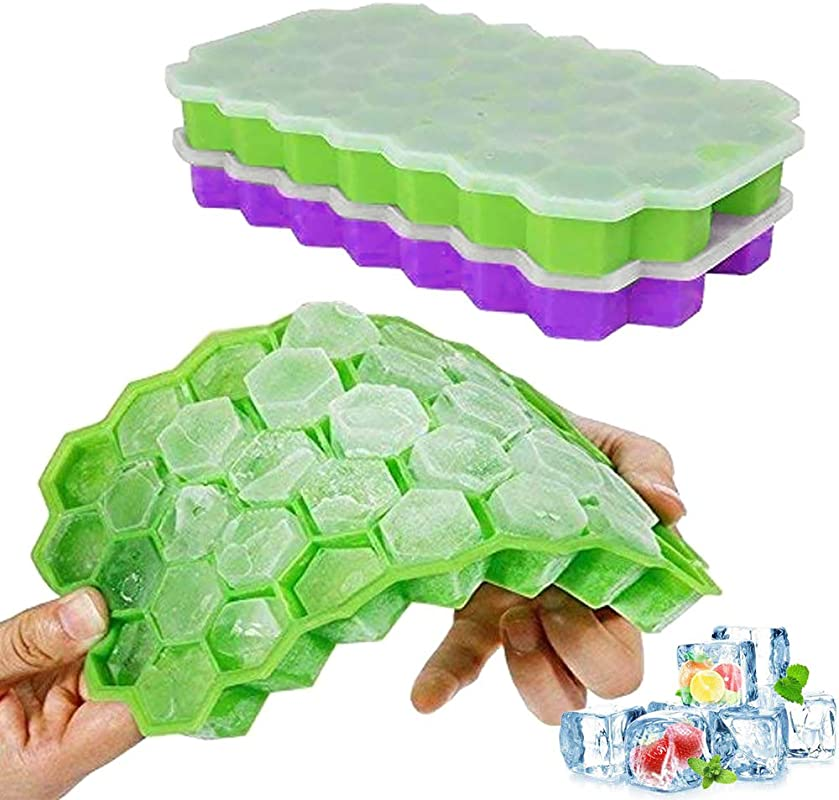 Ice Cube Trays Ouddy 2 Pack Silicone Ice Cube Molds With Removable Lid Totally 74 Ice Trays For Whiskey Cocktail Stackable Flexible Green Purple