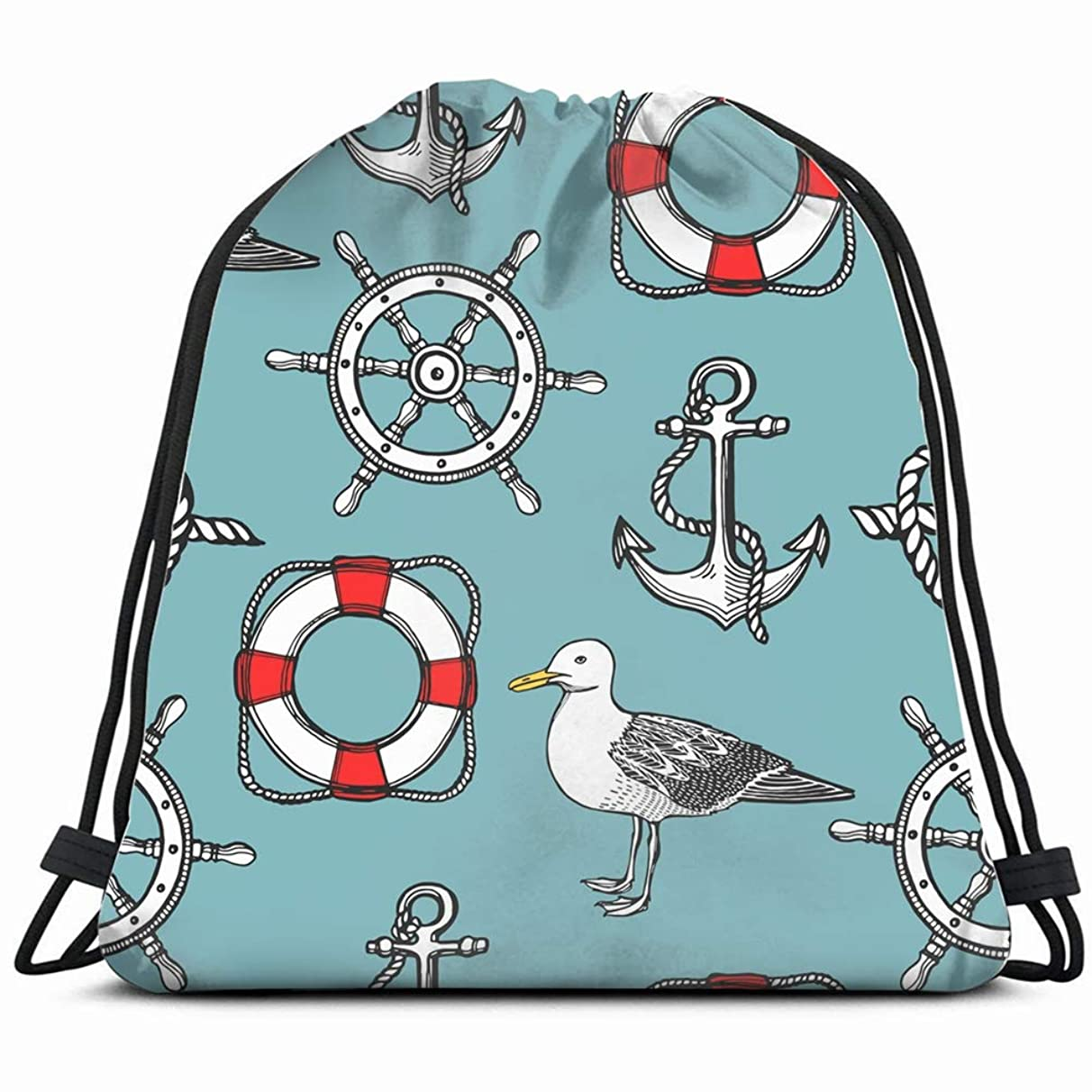 hand drawn vintage nautical seagull Drawstring Backpack Gym Sack Lightweight Bag Water Resistant Gym Backpack for Women&Men for Sports,Travelling,Hiking,Camping,Shopping Yoga