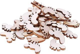 Simdoc 100pcs Wooden Baby Feet Craft Baby Feet Shape Blank Embellishments for DIY Craft Birthday Hanging Decor
