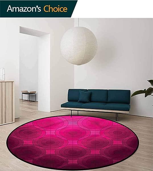 RUGSMAT Magenta Washable Creative Modern Round Rug Disc Circle Shapes Non Slip No Shedding Kitchen Soft Floor Mat Diameter 35