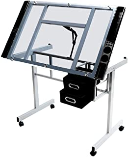 Topeakmart Glass Adjustable Rolling Drafting Drawing Artists Table Folding Art Craft Desk w/2 Slide Drawers and Wheels