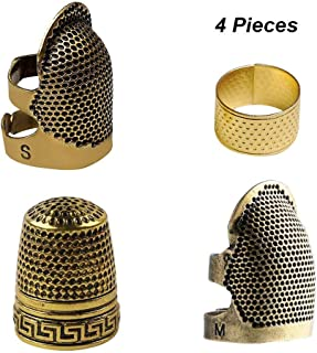 4 Pieces Sewing Thimble, Metal Copper Sewing Thimble Finger Protector Adjustable Finger Shield Ring Fingertip Thimble Sewing Quilting Craft Accessories DIY Sewing Tools