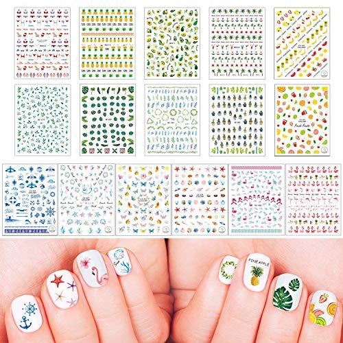 16 hojas Verano pegatinas para uñas Nail Art Stickers Plantilla Uñas Flor Frutal Hoja Estrella Hoja verde fruta océano Calcomanías Arte de Uñas Pegatinas