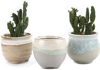 Ceramic Glaze Flowerpot Bonsai for Cactus Succulent Planter Plant Pot Set Flower Pot Container Garden Decoration 3pcs/lot,Type01