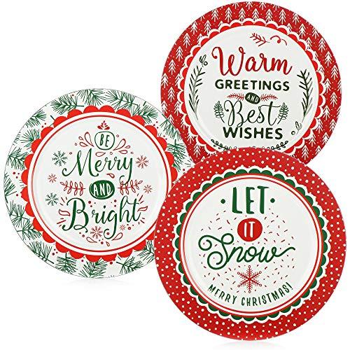 COM-FOUR 3x Piatti per Natale, Babbo Natale, Avvento - Piatto natalizio per biscotti, stollen, dolciumi - Piatto regalo con diversi detti - 33 cm [la selezione varia] (3 pezzi - Detti)