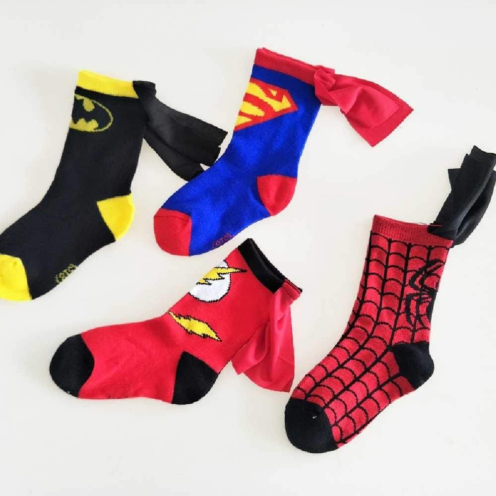 ZHANGNUO Printemps Superman S/érie Cousu Main Cape Gar/çons Et Filles Chaussettes Personnalis/é Danse Enfants Chaussettes De Sport