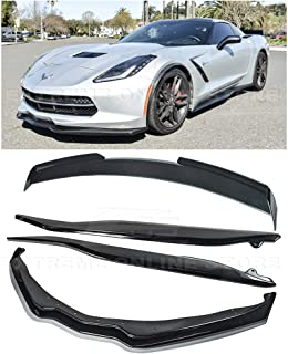 Replacement For 2014-2019 Corvette C7   Z06 Stage 2 Front Bumper Lip Splitter With Side Skirts Rocker Panels & Rear Spoiler Full Assembly Combo Kit (ABS Plastic - Painted Carbon Flash Metallic)