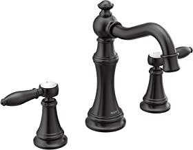 Moen TS42108BL Weymouth Two-Handle Lever Handle Bathroom Faucet Trim Kit, Valve Required, Matte Black