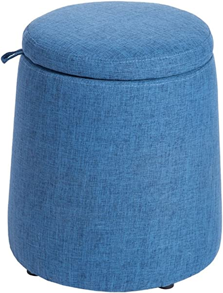 Storage Stool Cloth Multifunction Coffee Table Stool Storage Stool Sofa Change Shoes Stool Footstool With Solid Wood Frame And Linen Fabrics Clolor Blue