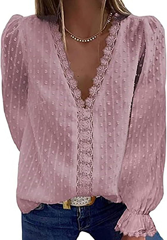 FABIURT Sweatshirts for Women,Womens Casual Long Sleeve Lace Tee Shirts Tunic Elegant Tops Fashion Blouse