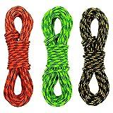 GM CLIMBING - Pack de 3 Cuerdas Trenzadas Dobles de 3 mm para Actividades al Aire Libre (Negro, Verde, Naranja, 50 m)