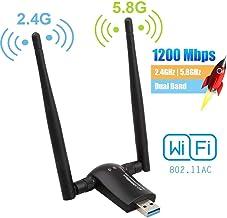 Flybiz Adaptador WiFi USB 3.0 Adaptador Dual Band (5.8GHz 866Mbps / 2.4GHz 300Mbps) 802.11ac Dongle WiFi Inalámbrico, 2 Antenas WiFi de 5dBi, para Windows XP/Vista/7/8/10, Linx2.6X; Mac OS X