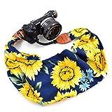 LIFEMATE Scarf Camera Strap,DSLR Camera Strap Universal Neck Strap,Fabric of Bohemia Floral Scarf Camera Strap (Sunflowers in Dark Blue)