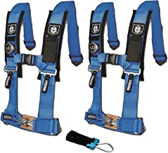 Pro Armor A114220VB P151100 Voodoo Blue 4-Point Harness 2 Inch Straps RZR UTV Seat Lap Belt with Bypass Clip 2 Pack