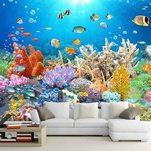 3D Wandbild Korallenriff Aquarium HD TV Hintergrund Wand Foto Tapete 3D Raum Tapete Landschaft Infantil-250 * 175cm