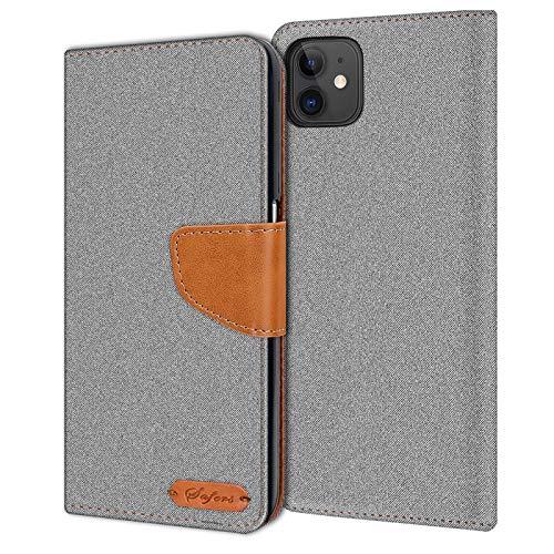 Verco kompatibel mit Apple iPhone 11 Hülle, Schutzhülle für iPhone 11 Tasche Denim Textil Book Hülle Flip Hülle (6,1 Zoll) - Klapphülle Grau